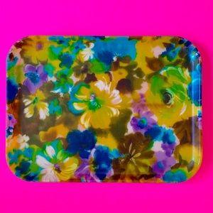 Vintage 1960s floral fiberglass serving tray